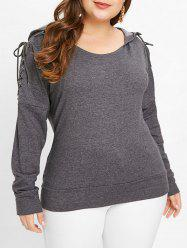 Drop Shoulder Plus Size Long Sleeve Hoodie -