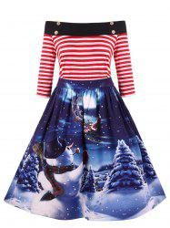 Vintage Off The Shoulder Printed Christmas Dress -