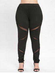 Elastic Waist Plus Size Mesh Panel Leggings -