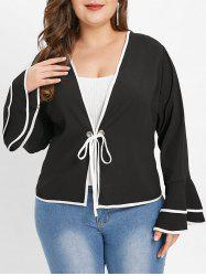 Plus Size Bell Sleeve Contrast Trim Jacket -