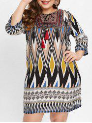 Plus Size Ethnic Pattern Casual Dress -
