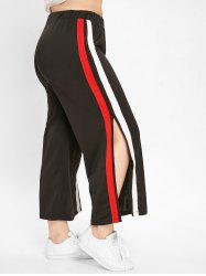 Striped Panel Plus Size Side Slit Pants -