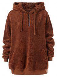 Zip Up Fluffy Pullover Hoodie -