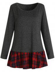 Plaid Insert Long Sleeve T-shirt -