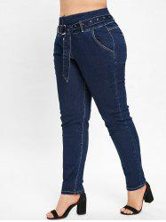Plus Size Four Button Jeans -