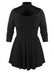 Plus Size Lace Insert Peplum Top -