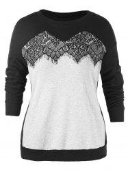 Plus Size Lace Insert Sweatshirt -