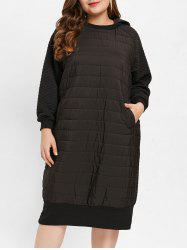 Hooded Plus Size Quilted Longline Dress -