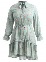 Plus Size Self Tie Flower Flounce Dress -