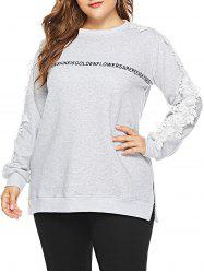 Plus Size Letter Print Applique Sweatshirt -