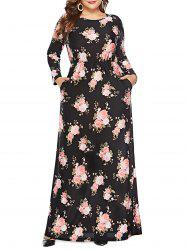 Plus Size Floral Print Maxi Dress -