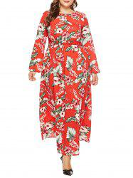 Plus Size Tropical Leaf Maxi Dress -
