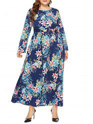 Plus Size Leaf Print Maxi Dress -