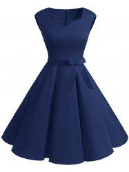 Vintage Sweetheart Neck Fit and Flare Dress -