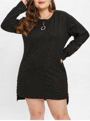 Side Slit Plus Size Rivet Embellished Shift Dress -