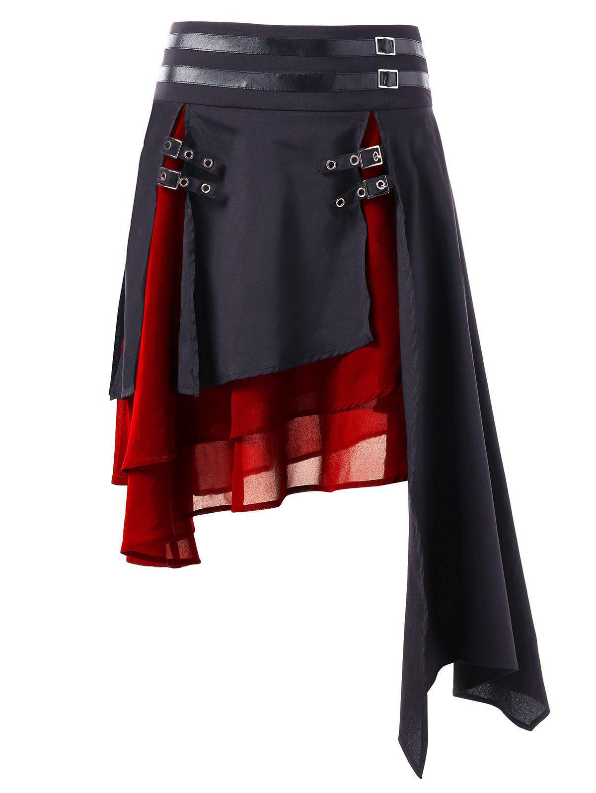 Color Block Layered Asymmetrical Skirt, Lava red