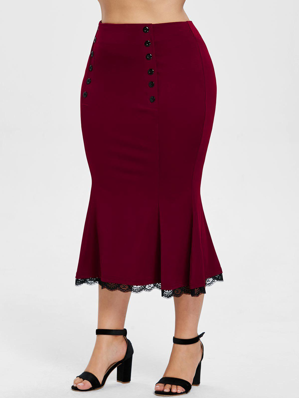 New Plus Size Button Detail Mermaid Skirt
