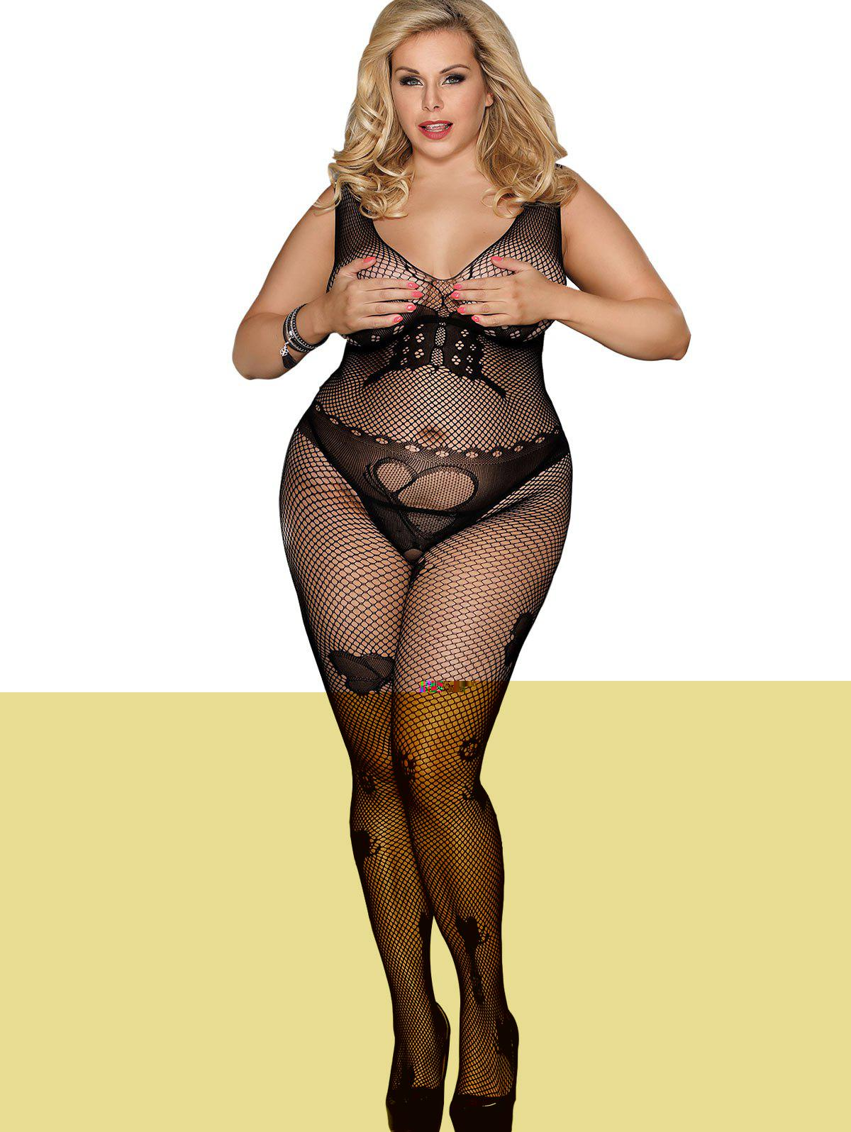 Affordable Plus Size Crotchless Butterfly Lingerie Bodystocking