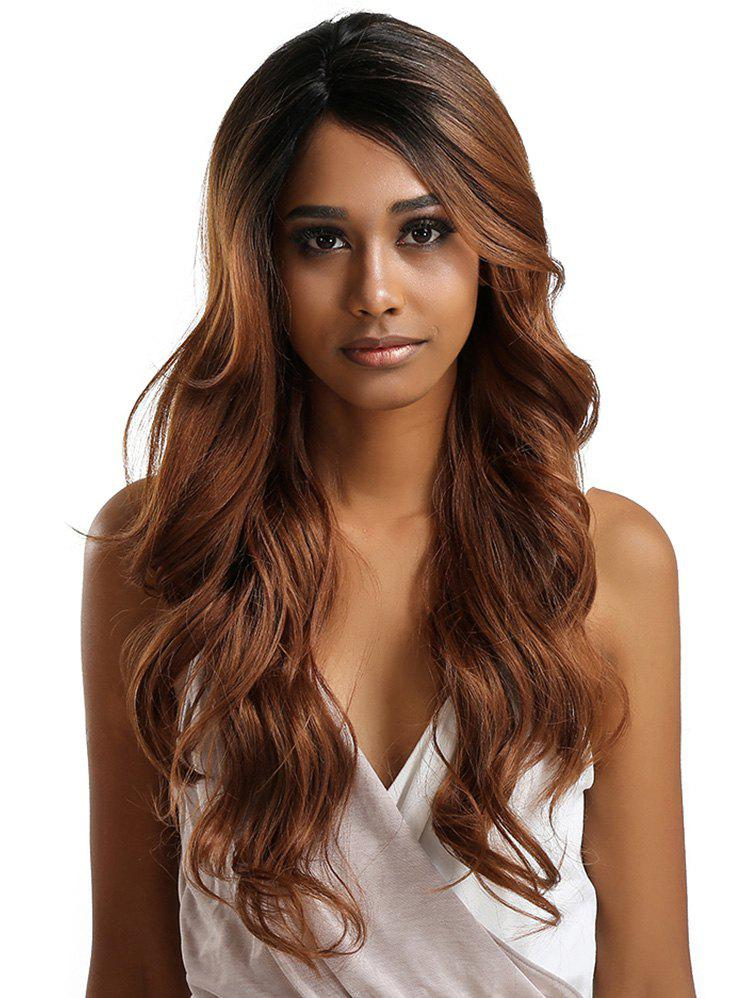 Trendy Long Side Parting Colormix Feathered Wavy Lace Front Synthetic Wig
