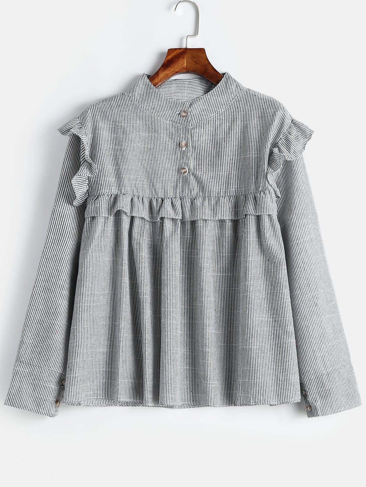 Best Plus Size Ruffled Trim Striped Smock Blouse