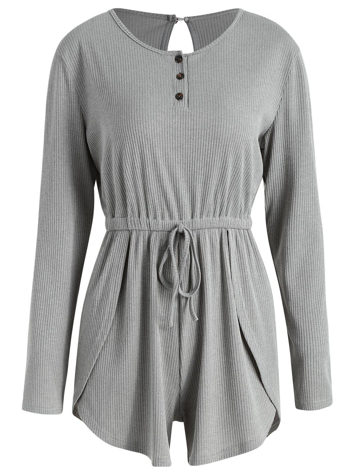 Online Ribbed Half-button Long Sleeve Romper