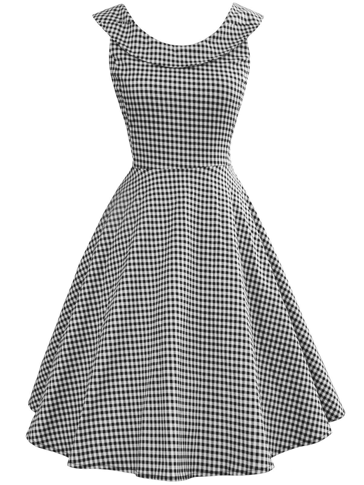633fa6b7ea02 41% OFF] Vintage Gingham High Waist Swing Dress | Rosegal