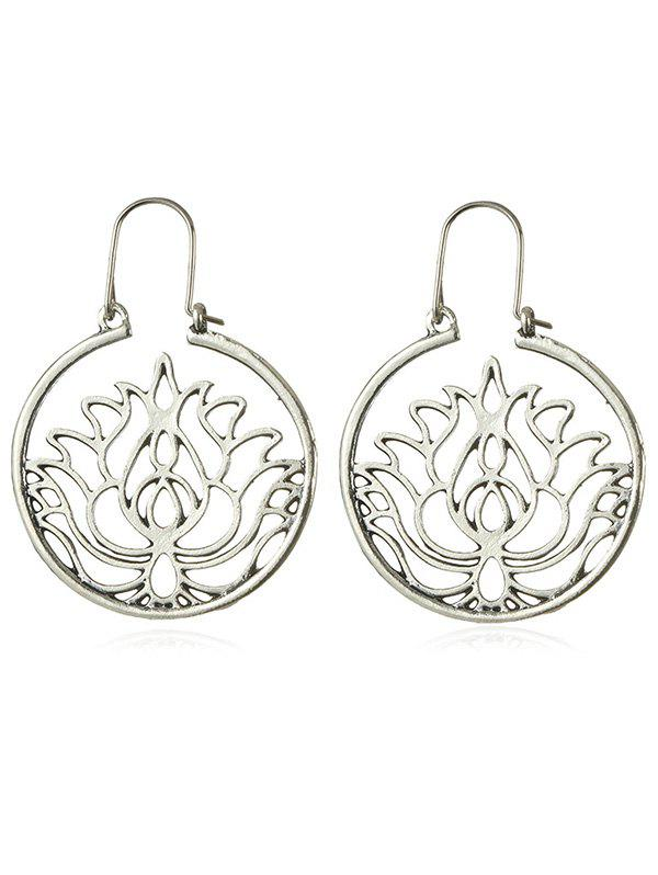 Unique Circle Floral Pattern Hollow Out Scrub Earrings
