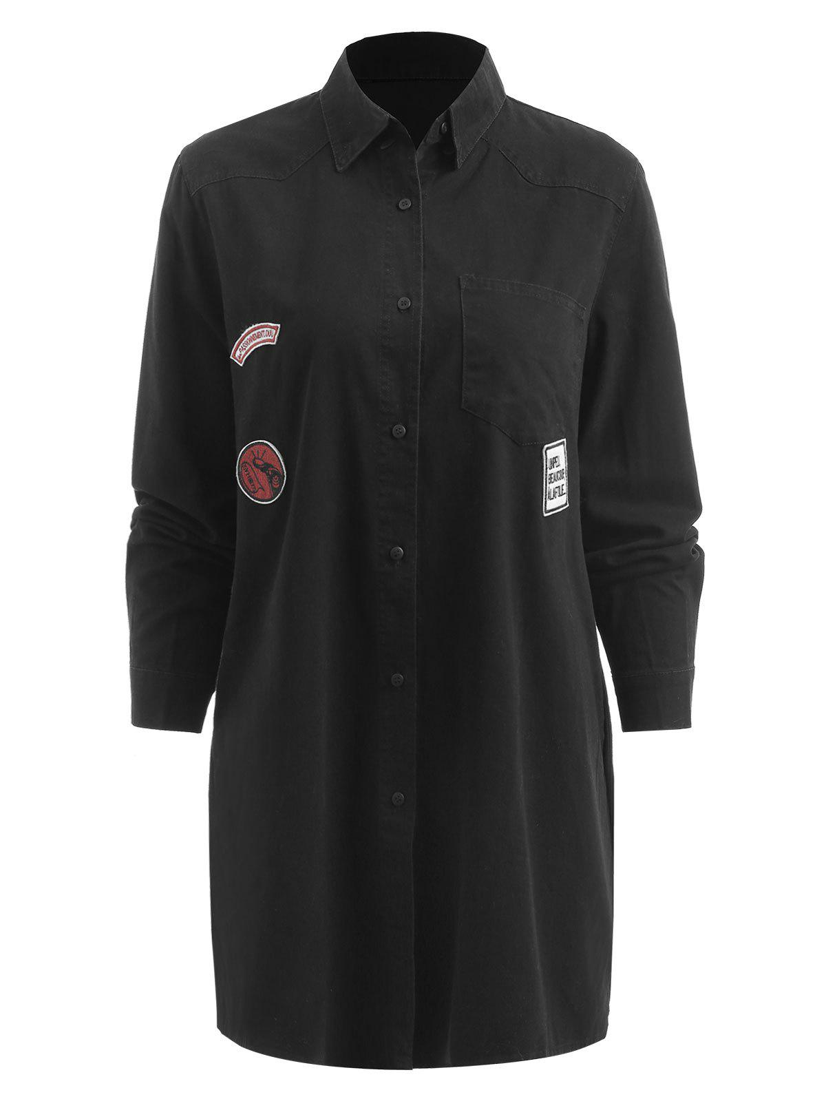 Unique Front Pocket Tunic Shirt Coat