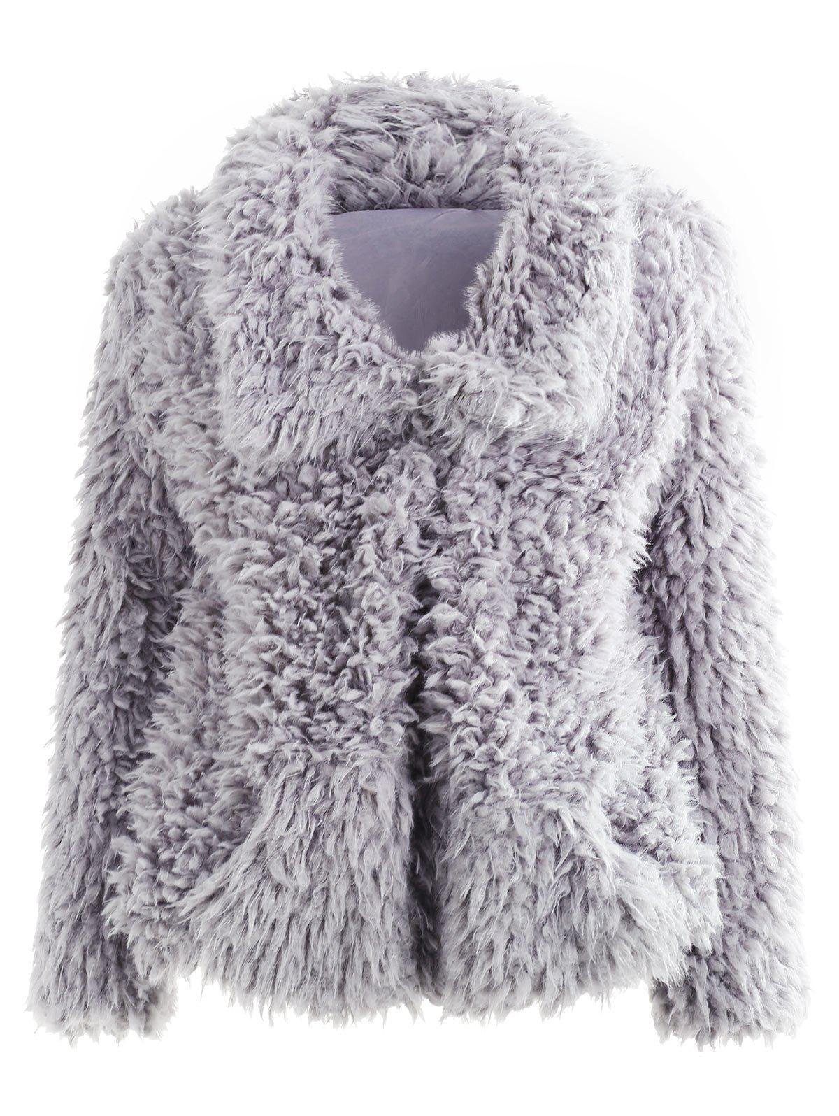 Outfits Fluffy Pocket Open Front Coat