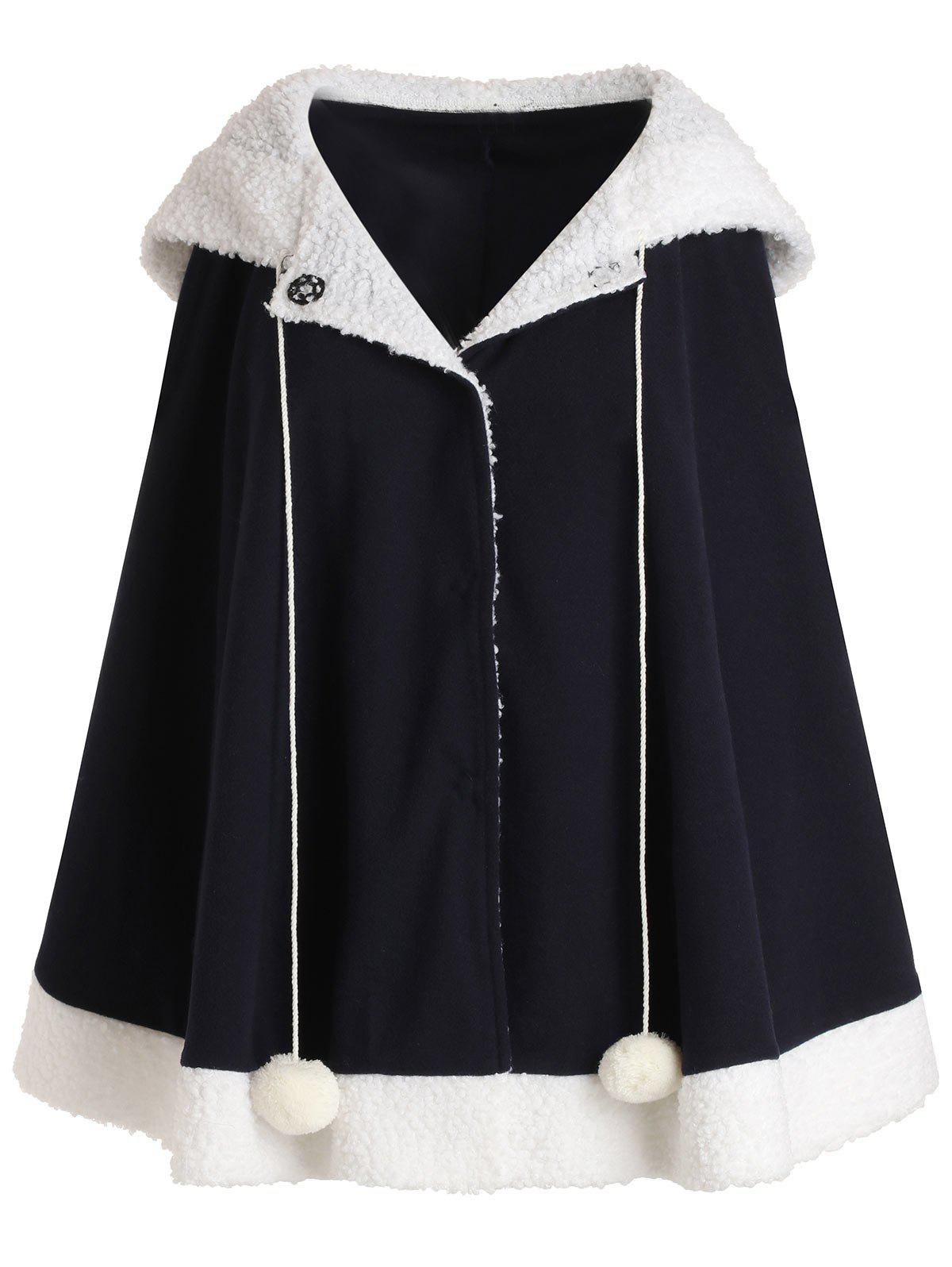 Cheap Hooded Contrast Wool Blend Coat