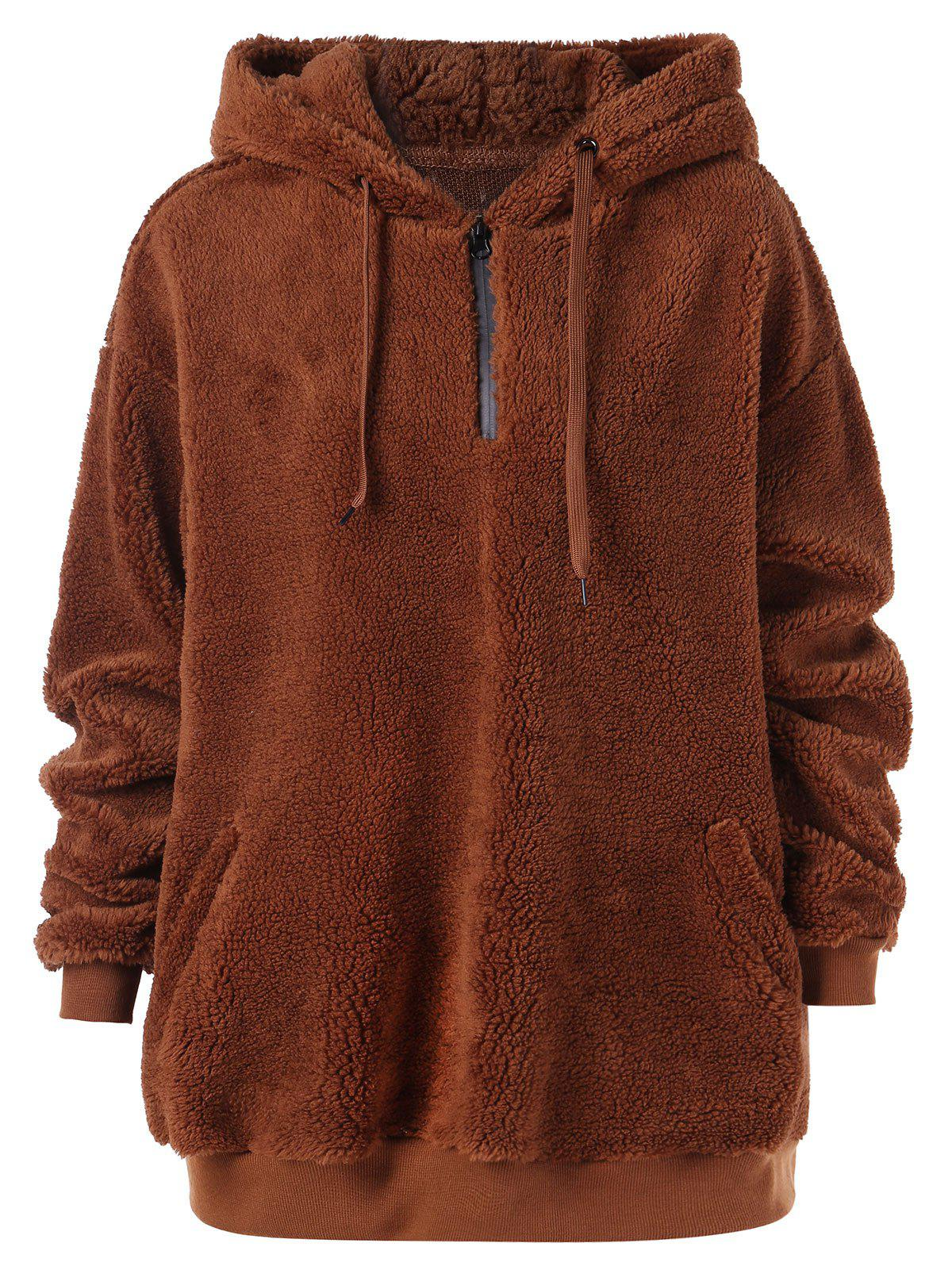 Outfits Zip Up Fluffy Pullover Hoodie
