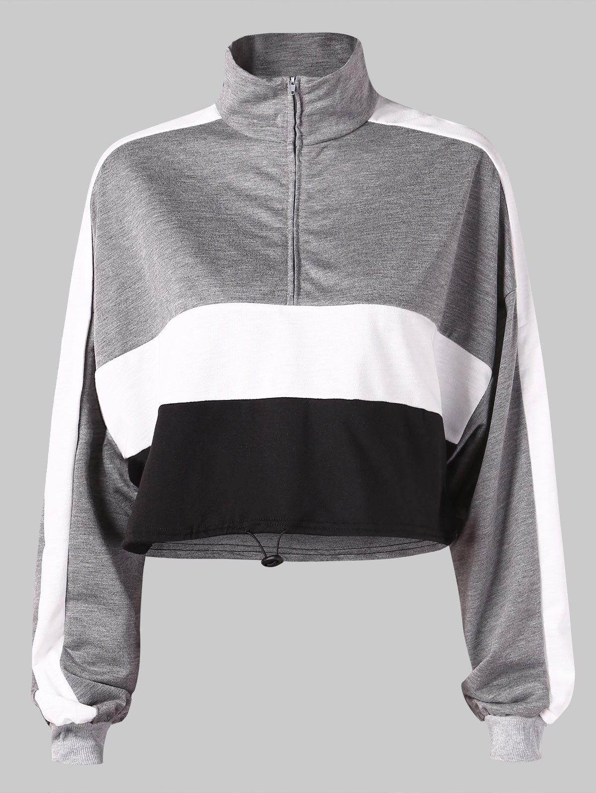 Store Color Block Stand Collar Cropped Sweatshirt