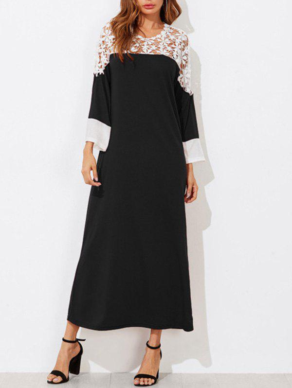 Buy Contrast Lace Insert Maxi Dress