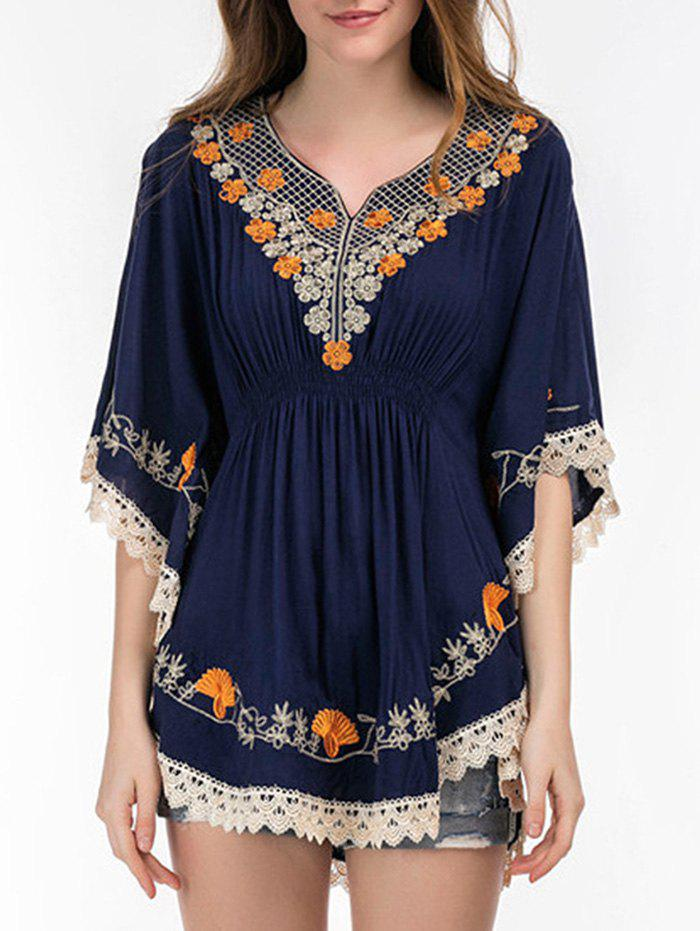 Affordable Butterfly Sleeve Embroidered Romper