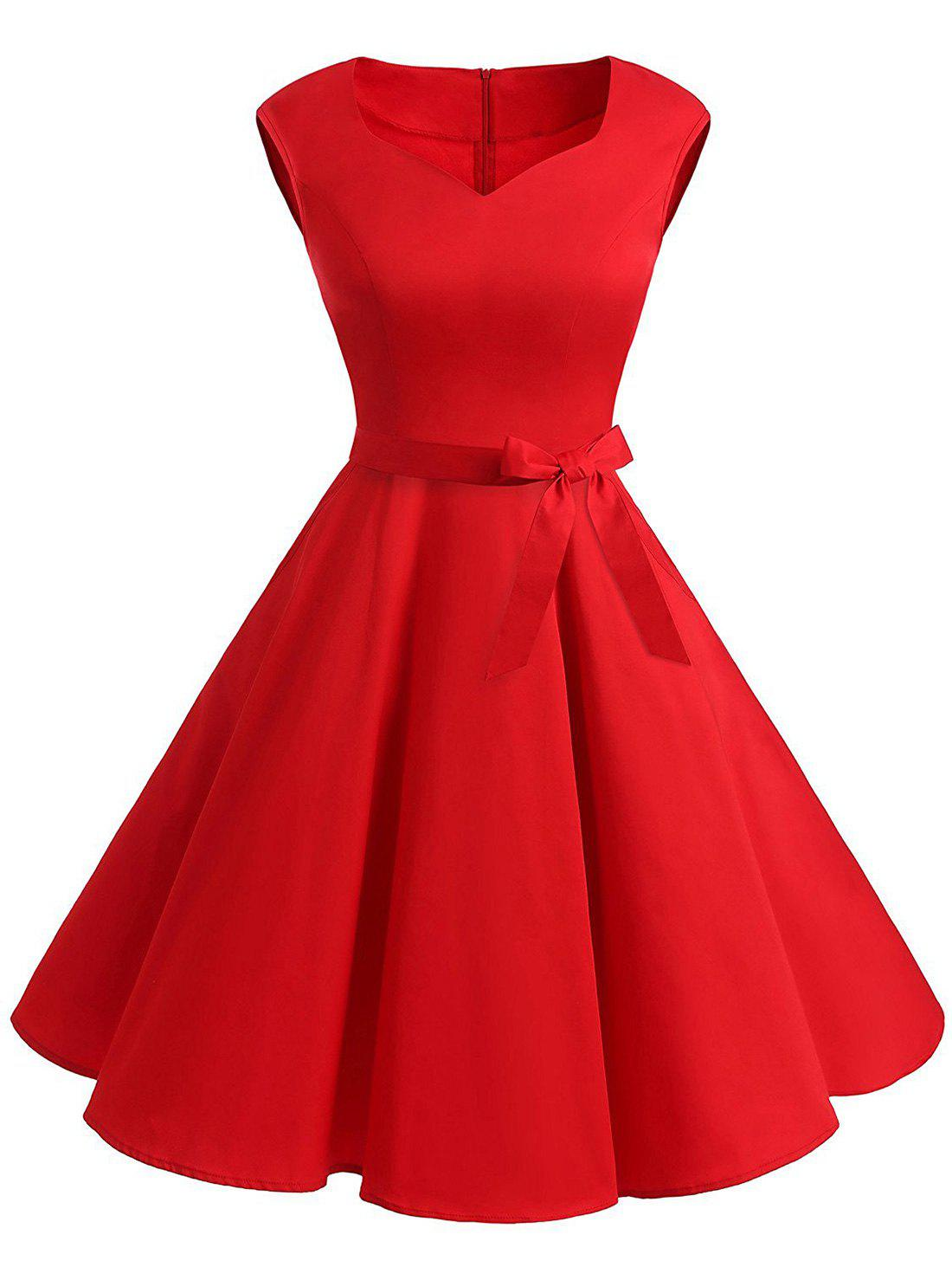 Hot Vintage Sweetheart Neck Fit and Flare Dress