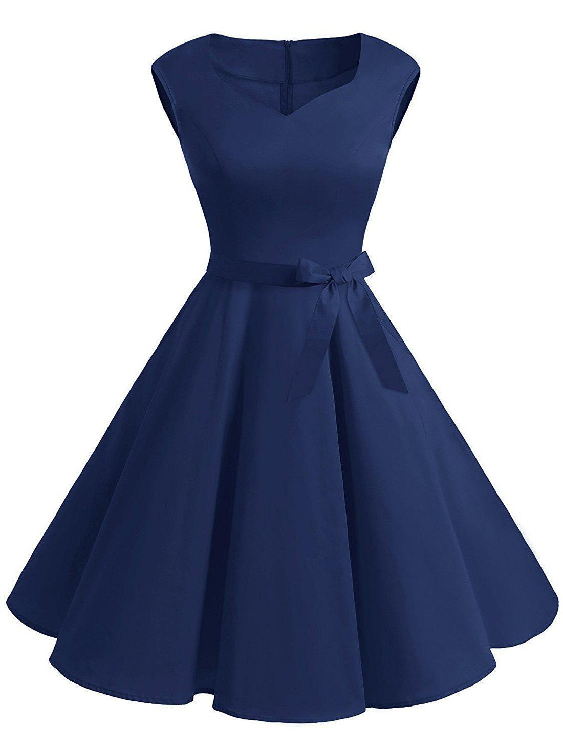 Cheap Vintage Sweetheart Neck Fit and Flare Dress
