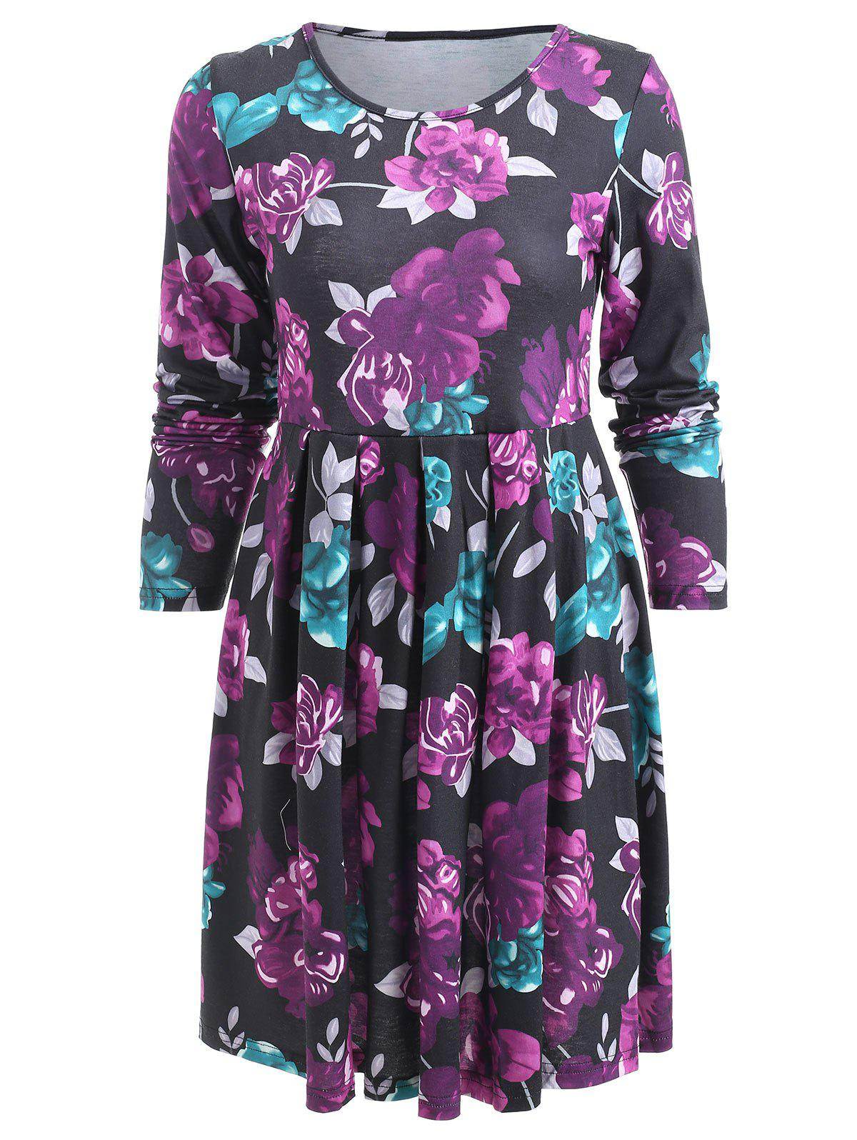 Fancy Pleated Flower Print A Line Dress