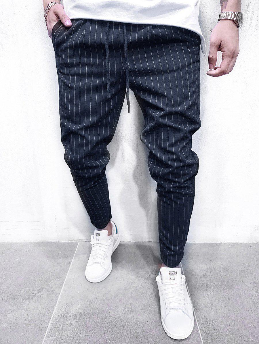 Unique Thin Stripe Tapered Casual Pants