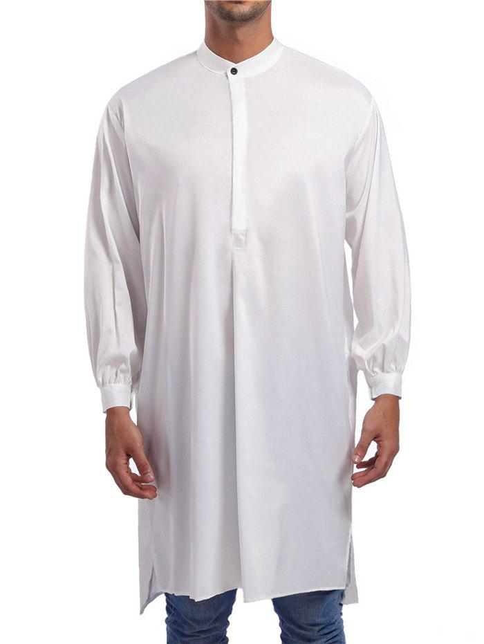 New Solid One Button Long Shirt