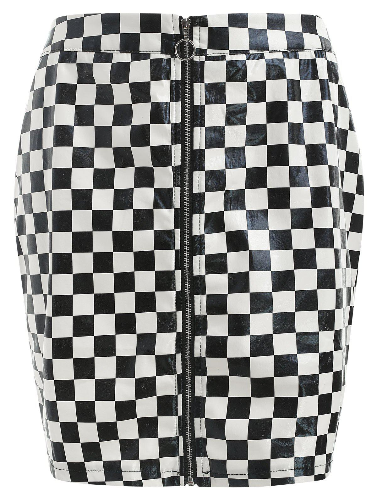 Discount Plaid Print Faux Leather Skirt