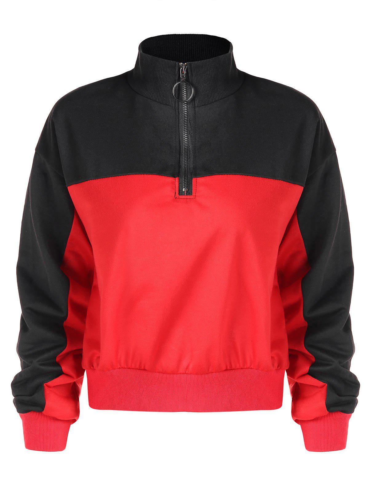 Affordable Contrast Color Stand Collar Sweatshirt