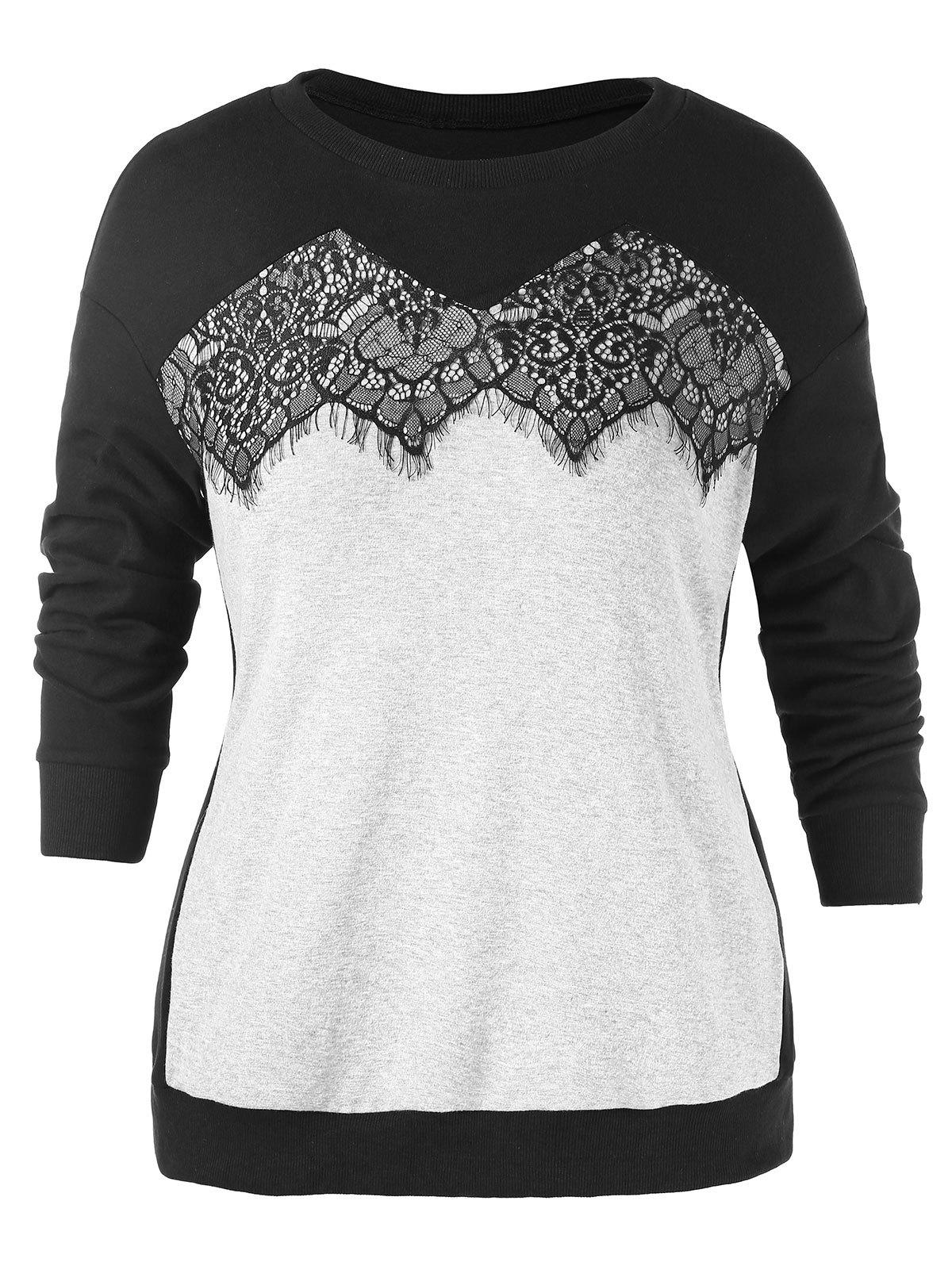 Fancy Plus Size Lace Insert Sweatshirt