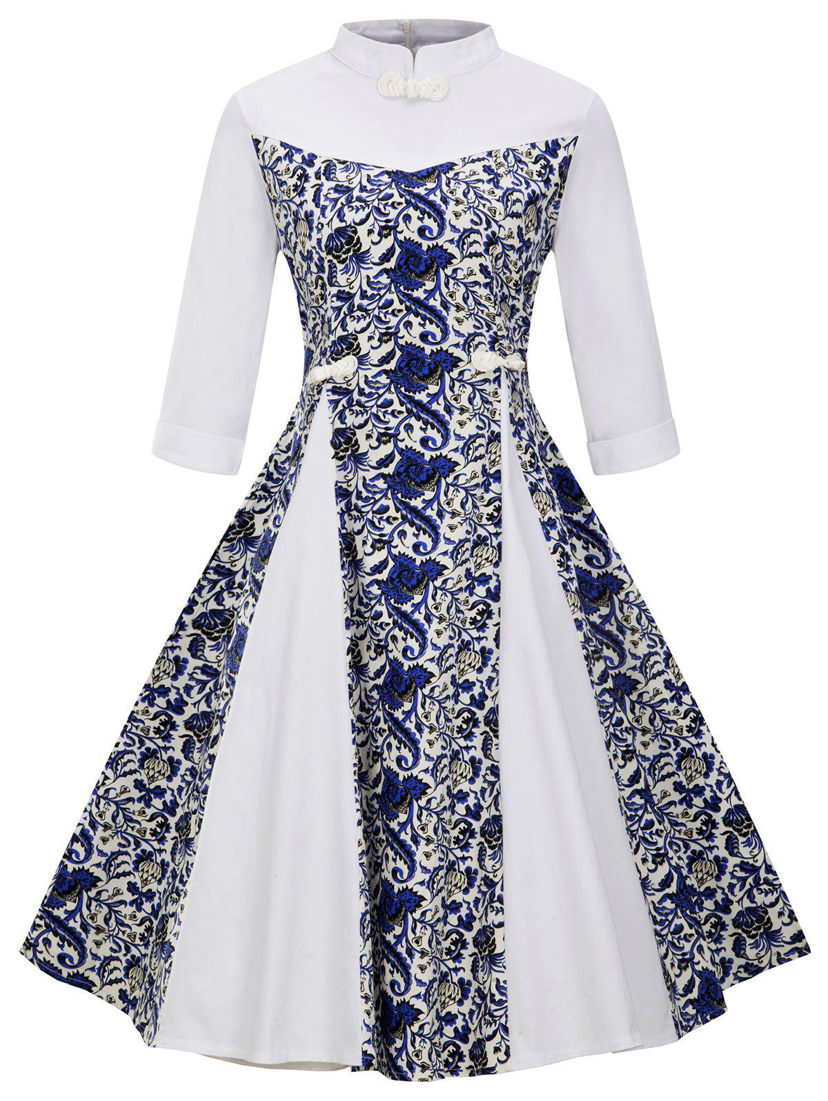 Store Plus Size Floral Stand Collar Flared Dress