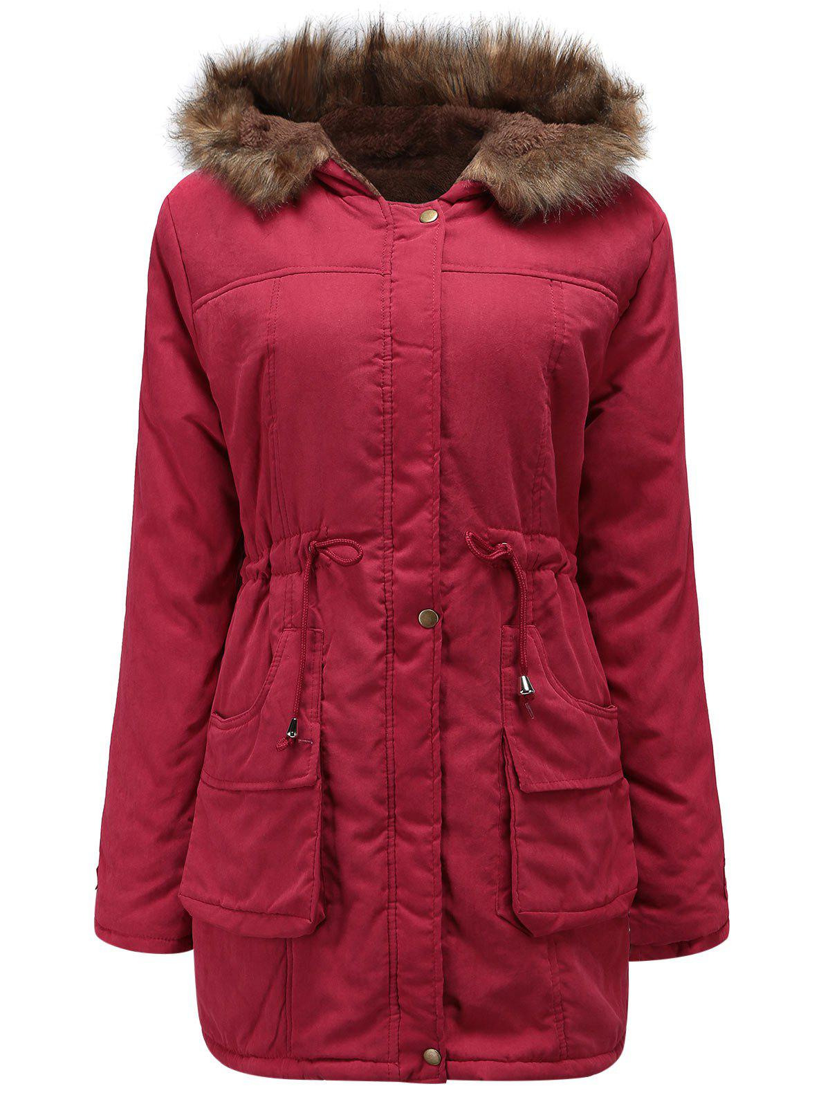 Trendy Drawstring Waist Plus Size Parka Coat