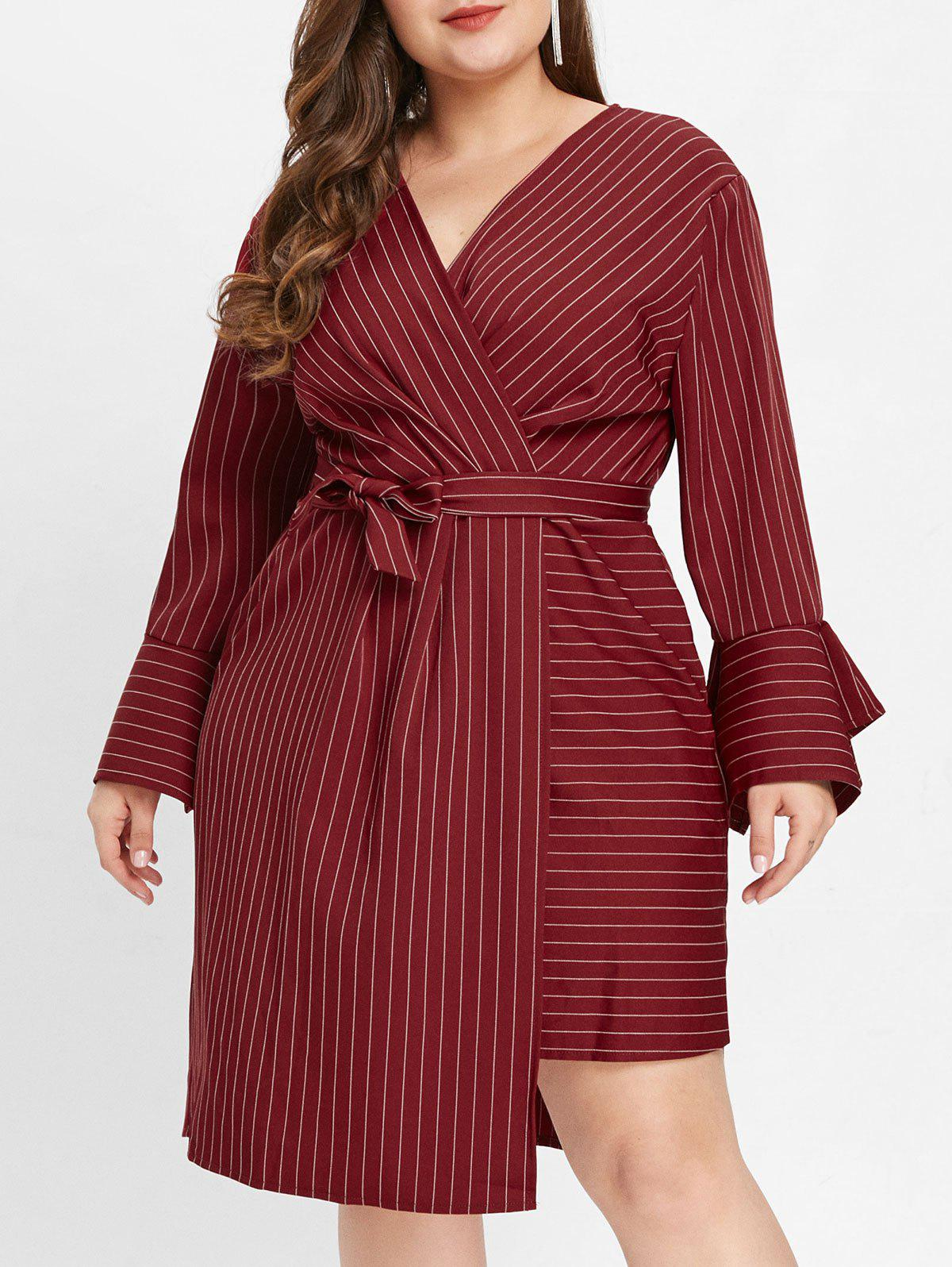 Discount Flare Sleeve Plus Size Striped Panel Midi Dress