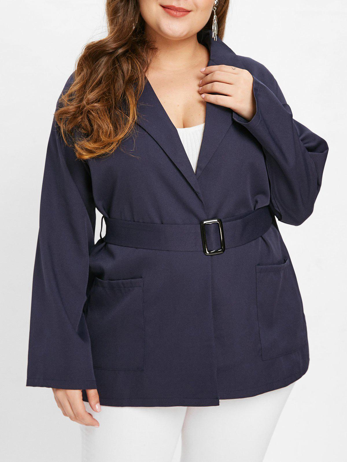 Shops Collarless Plus Size Coat with Belt