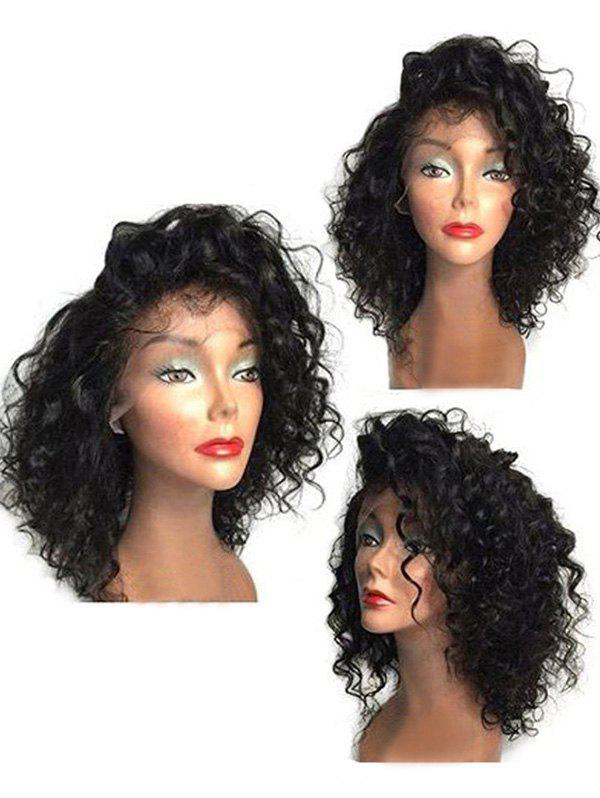Cheap Medium Side Bang Curly Synthetic Lace Front Wig