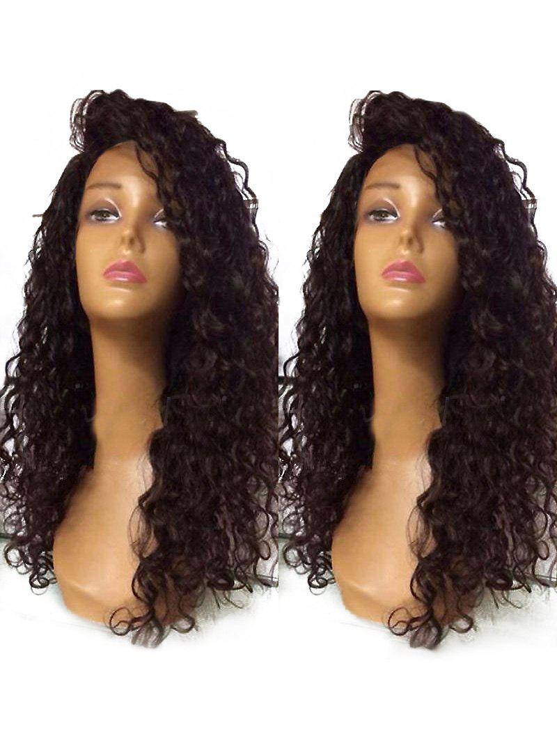Cheap Long Inclined Bang Curly Lace Front Synthetic Wig