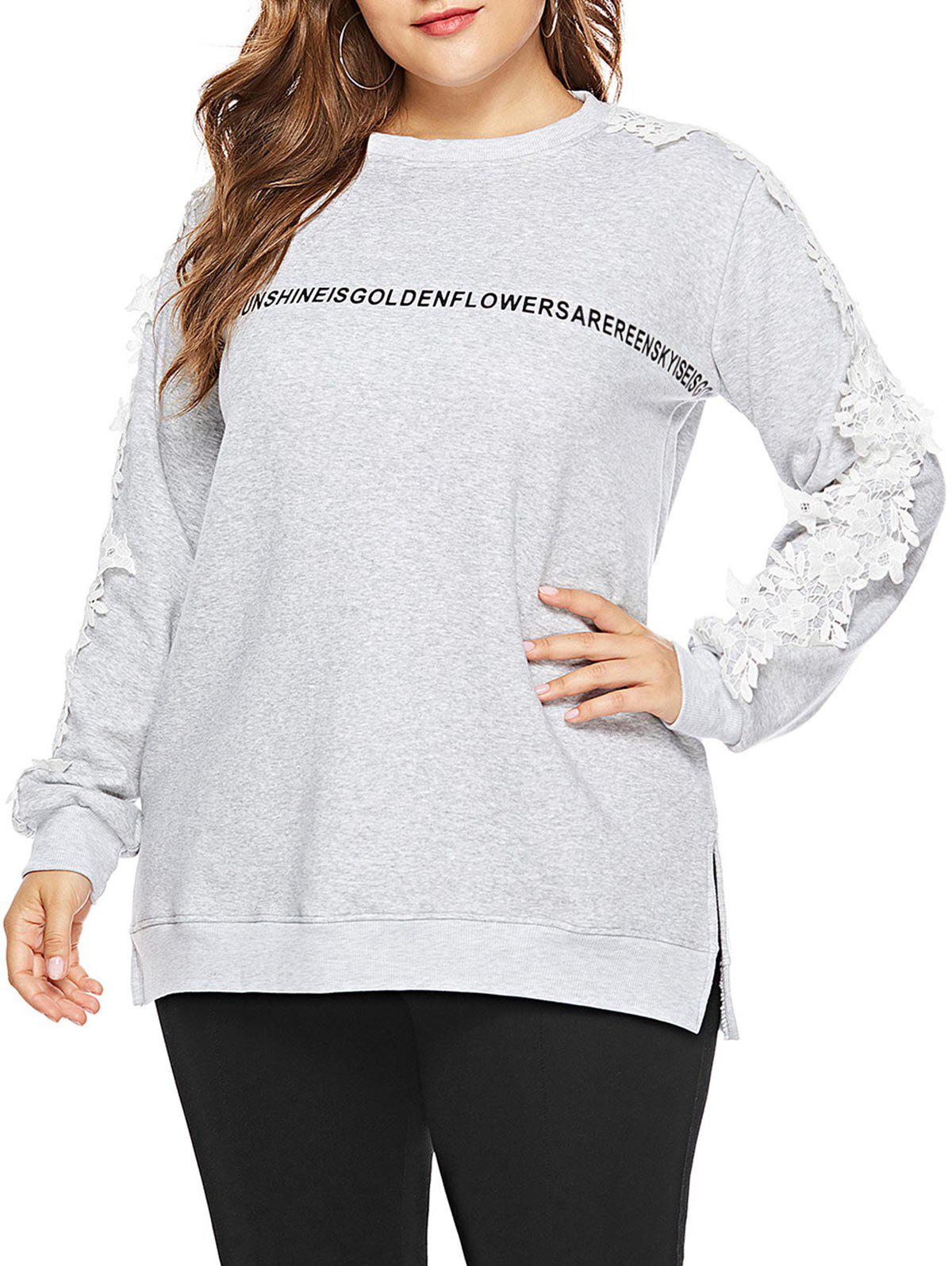Online Plus Size Letter Print Applique Sweatshirt