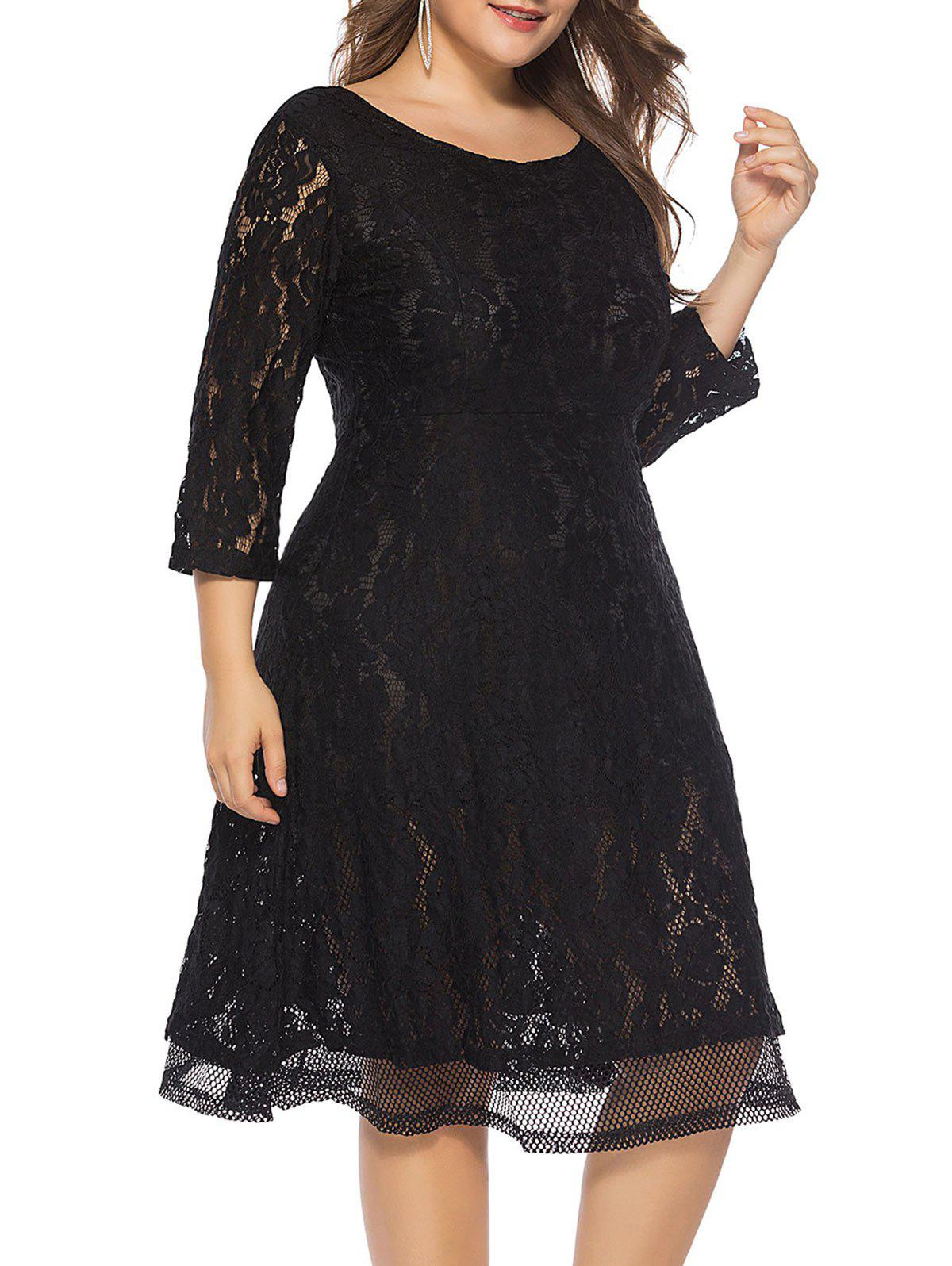 48% OFF] Plus Size Lace Knee Length Dress | Rosegal